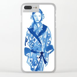 Samurai casual -blue ink woman fashion illustration Clear iPhone Case