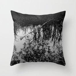 Monochrome Marshland Throw Pillow