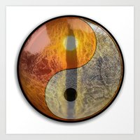 yin yang Art Prints featuring yin yang by Vector Art