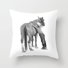 A Cowboy and His Horse, Pencil Drawing Throw Pillow