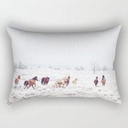 Winter Horses Rectangular Pillow