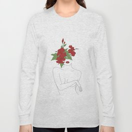 Minimal Line Art Woman with Hibiscus Long Sleeve T-shirt