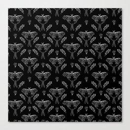 Luna Moth linocut minimal black and white pattern basic botanical nature Canvas Print