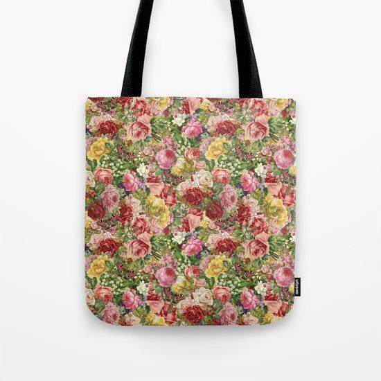 Vintage Retro flower pattern old fashioned Tote Bag