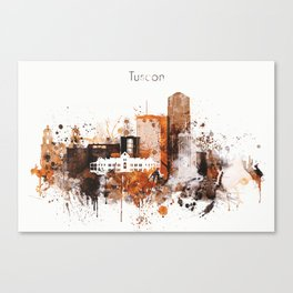 Brown Watercolor Tucson watercolor skyline Canvas Print