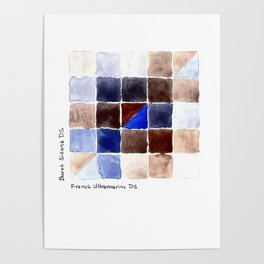 Color Chart - Burnt Sienna (DS) and French Ultramarine (DS) Poster