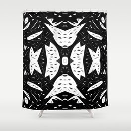 Cutouts Black and White Abstract Shower Curtain