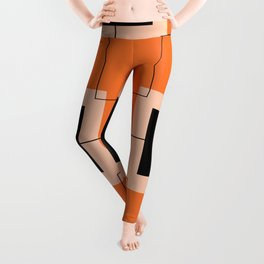 White Hairline Squares in Orange Leggings