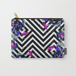 Geometric  black-White Morning Glories Grey Pattern Garden  Art Carry-All Pouch