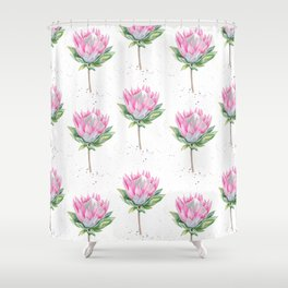 Protea Floral Pattern (white) Shower Curtain