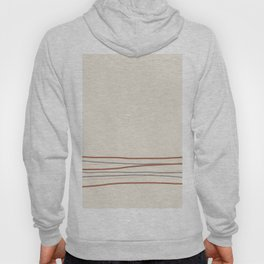 Off White Solid Color with Minimal Scribble Stripes Bottom Brown, Gray, And Beige Hoody