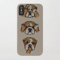 english bulldog iPhone & iPod Cases featuring Noevil English Bulldog by Huebucket
