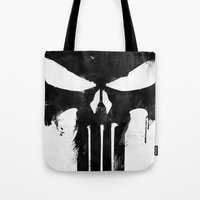 punisher Tote Bags featuring Punisher Black by d.bjorn