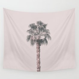 Tropical Palm Tree In Pastel Pink Light Wall Tapestry