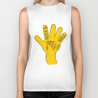 rock and roll Biker Tanks featuring Palmistry Rock and Roll by mailboxdisco