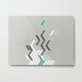 Deconstructed Chevron B – Gray / Teal Abstract Pattern Metal Print