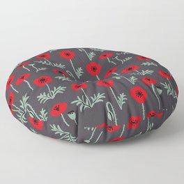Red poppy flower pattern Floor Pillow
