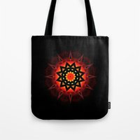 drums Tote Bags featuring Drums in the Deep by Mr. Pattern Man