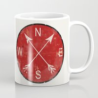 compass Mugs featuring Compass by Duke Dastardly