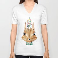 squirrel V-neck T-shirts featuring squirrel by Manoou