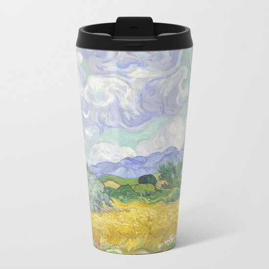 A Wheatfield with Cypresses by Vincent van Gogh Metal Travel Mug