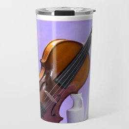 Still life with violin and white vases on a purple Travel Mug