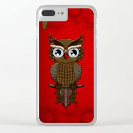 Wonderful steampunk owl on red background Clear iPhone Case