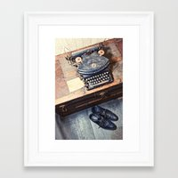 typewriter Framed Art Prints featuring Typewriter by Shaun Lowe