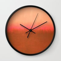 rothko Wall Clocks featuring Orange Pink - Mark Rothko by Rothko