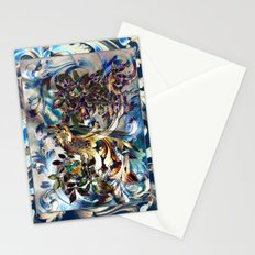 Acanthus Crow Brown On Blue Stationery Cards