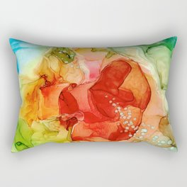 Rainbow Mermaid Bubbles Abstract 2.3 Alcohol Ink Modern Painting by Herzart Rectangular Pillow