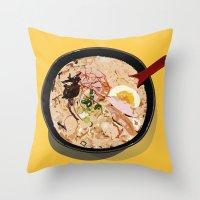 ramen Throw Pillows featuring ITADAKIMASU::RAMEN by Gloria Kum ::Crunchyshimp::