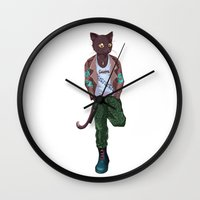 katamari Wall Clocks featuring Lonsdale punk cat by Kami-katamari