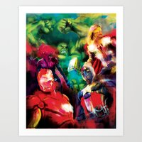 avenger Art Prints featuring Color Avenger! by Jesus De La Mora