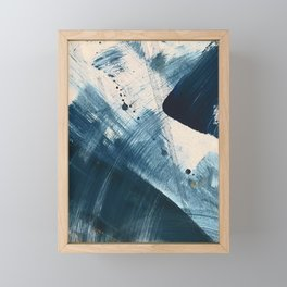 Against the Current [2]: A bold, minimal abstract acrylic piece in blue, white and gold Framed Mini Art Print