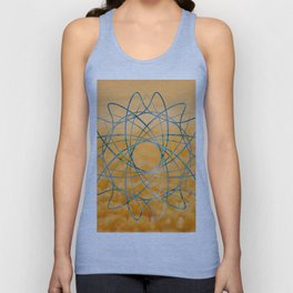 Blue abstract shape in orange bakcground Unisex Tank Top