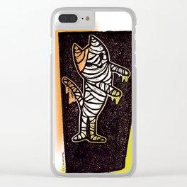 Mummy Cat Funny Halloween Animal Art Clear iPhone Case