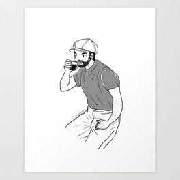 Man drinking coffee at a coffee shop Art Print