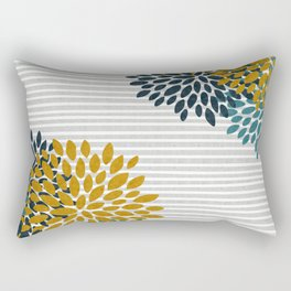 Floral Blooms and Stripes, Navy Blue, Teal, Yellow, Gray Rectangular Pillow