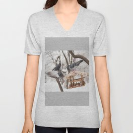 Three hungry pigeons on bird feeder Unisex V-Neck