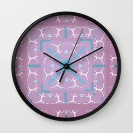 Dancing with Blue Lanterns Pattern Wall Clock