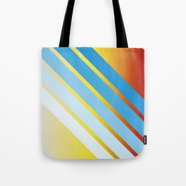Blue Colored Stripes on Red Yellow Color Gradient Tote Bag