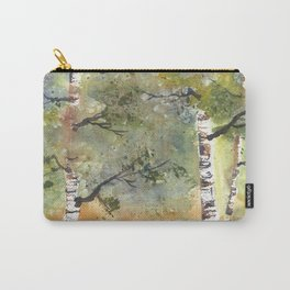 Spring Birch Forest, an original watercolor painting Carry-All Pouch
