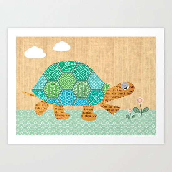 Cute turtle Collage on wooden background Art Print
