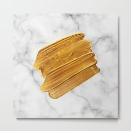 Gold on Marble Metal Print