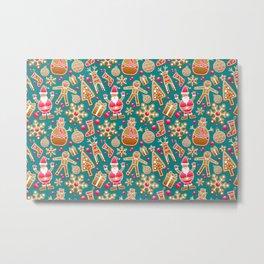 Cute Christmas Gingerbread Cookie Pattern Metal Print