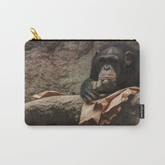 bored chimpanzee monkey animal zoo Carry-All Pouch