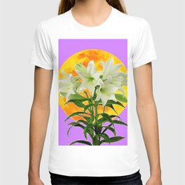 EASTER LILIES ON LILAC GOLDEN MOON T-shirt