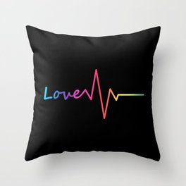 Rainbow Love Heartbeat Throw Pillow