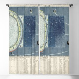 Vintage Celestial Star Map with Planetary Orbits (1858) Blackout Curtain